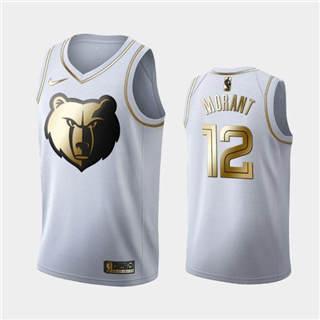 Men's Memphis Grizzlies #12 Ja Morant White Golden Basketball Jersey