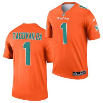 Men's Miami Dolphins #1 Tua Tagovailoa Orange 2021 Inverted Legend Stitched Jersey