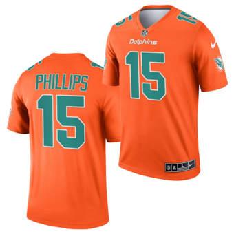 Men's Miami Dolphins #15 Jaelan Phillips Orange 2021 Inverted Legend Stitched Jersey