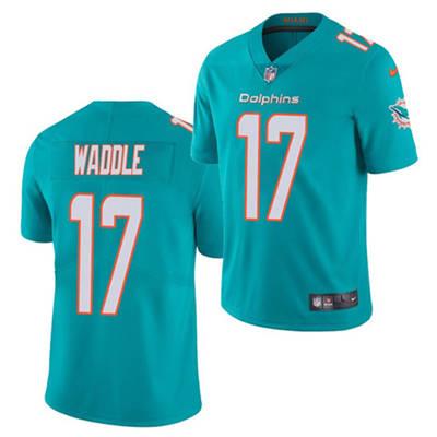 Men's Miami Dolphins #17 Jaylen Waddle Aqua 2021 Vapor Untouchable Limited Stitched Football Jersey