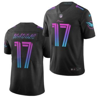 Men's Miami Dolphins #17 Jaylen Waddle Black 2021 Draft City Edition Jersey