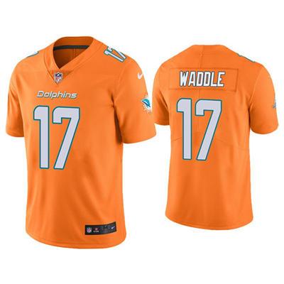 Men's Miami Dolphins #17 Jaylen Waddle Orange 2021 Vapor Untouchable Limited Stitched Football Jersey