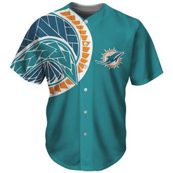 Men's Miami Dolphins Aqua Baseball Jersey