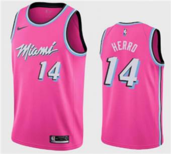 Men's Miami Heat #13 Tyler Herro Pink City Edition Stitched Basketball Jersey