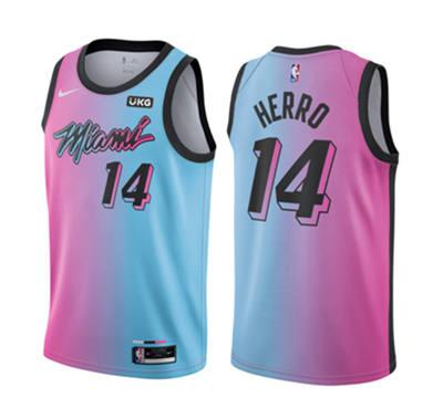 Men's Miami Heat #14 Tyler Herro 2021 Blue Pink City Edition Vice Stitched Basketball Jersey