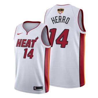 Men's Miami Heat #14 Tyler Herro White 2020 Finals Bound Association Edition Stitched Jersey