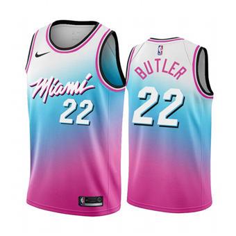 Men's Miami Heat #22 Jimmy Butler Blue Pick City Edition New Uniform 2020-21 Stitched Basketball Jersey