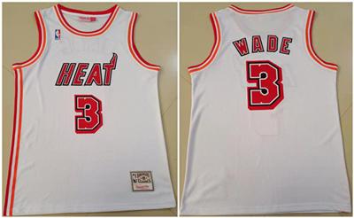 Men's Miami Heat #3 Dwyane Wade White Throwback Stitched Basketball Jersey