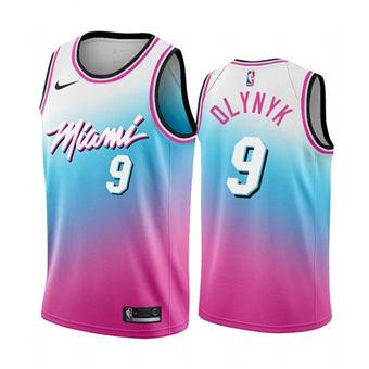 Men's Miami Heat #9 Kelly Olynyk Blue Pick City Edition New Uniform 2020-21 Stitched Basketball Jersey