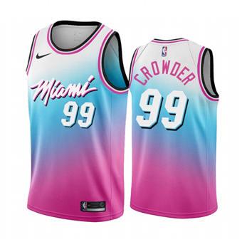 Men's Miami Heat #99 Jae Crowder Blue Pick City Edition New Uniform 2020-21 Stitched Basketball Jersey