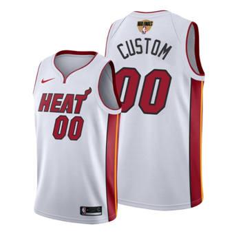 Men's Miami Heat Active Player 2020 White Finals Bound Statement Edition Stitched Custom Jersey