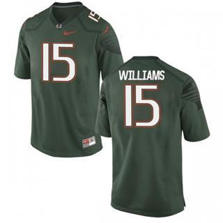 Men's Miami Hurricanes #15 Jarren Williams Jersey Green Stiched NCAA