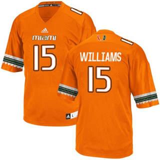 Men's Miami Hurricanes #15 Jarren Williams Jersey Orange Stiched NCAA