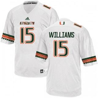 Men's Miami Hurricanes #15 Jarren Williams Jersey White Stiched NCAA