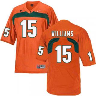 Men's Miami Hurricanes #15 Jarren Williams Orange NCAA Football Jersey