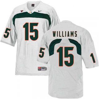 Men's Miami Hurricanes #15 Jarren Williams White NCAA 19-20 Football Jersey