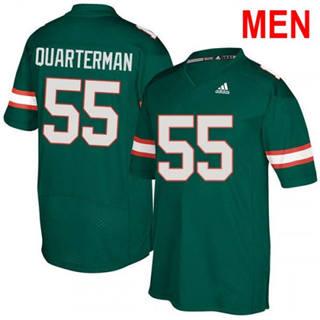 Men's Miami Hurricanes #55 Shaquille Quarterman Green Football Jersey