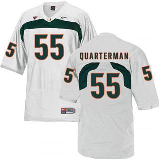 Men's Miami Hurricanes #55 Shaquille Quarterman Jersey White NCAA