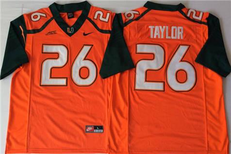 Men's Miami Hurricanes Orange #26 Sean Taylor Stitched College Football Jersey