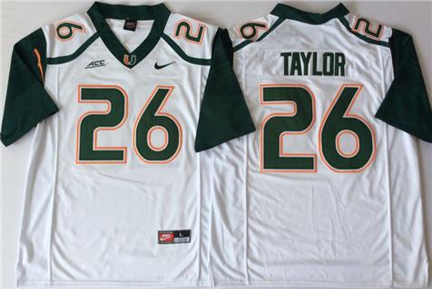 Men's Miami Hurricanes White #26 Sean Taylor Stitched College Football Jersey