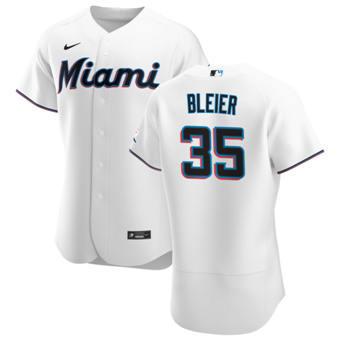 Men's Miami Marlins #35 Richard Bleier White Home 2020 Authentic Player Baseball Jersey
