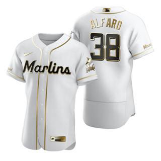 Men's Miami Marlins #38 Jorge Alfaro White 2020 Authentic Golden Edition Baseball Jersey