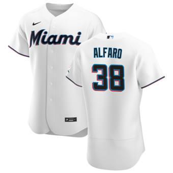Men's Miami Marlins #38 Jorge Alfaro White Home 2020 Authentic Player Baseball Jersey