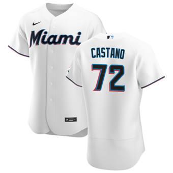 Men's Miami Marlins #72 Daniel Castano White Home 2020 Authentic Player Baseball Jersey