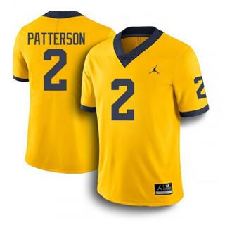 Men's Michigan Wolverines #2 Shea Patterson Jersey Yellow NCAA 19-20