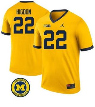 Men's Michigan Wolverines #22 Karan Higdon Jersey Yellow NCAA 19-20