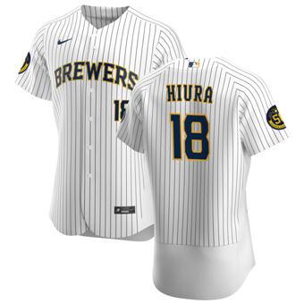 Men's Milwaukee Brewers #18 Keston Hiura White Home 2020 Authentic Player Baseball Jersey