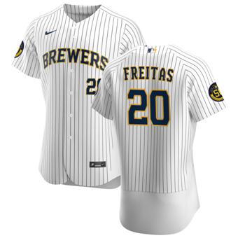 Men's Milwaukee Brewers #20 David Freitas White Home 2020 Authentic Player Baseball Jersey