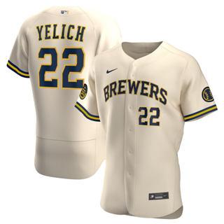 Men's Milwaukee Brewers #22 Christian Yelich 2020 Cream Alternate Authentic Player Baseball Jersey