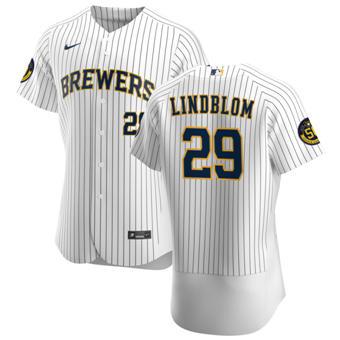 Men's Milwaukee Brewers #29 Josh Lindblom White Home 2020 Authentic Player Baseball Jersey