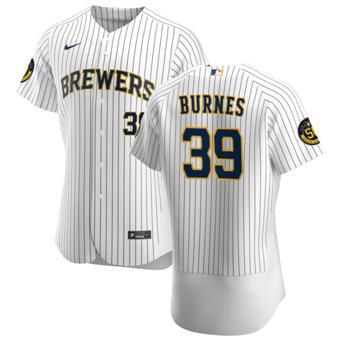 Men's Milwaukee Brewers #39 Corbin Burnes White Home 2020 Authentic Player Baseball Jersey