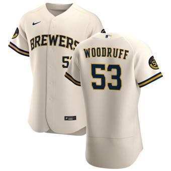 Men's Milwaukee Brewers #53 Brandon Woodruff Cream Home 2020 Authentic Player Baseball Jersey