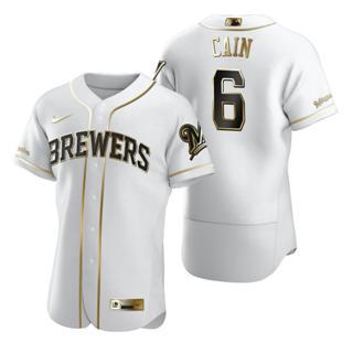 Men's Milwaukee Brewers #6 Lorenzo Cain White 2020 Authentic Golden Edition Baseball Jersey