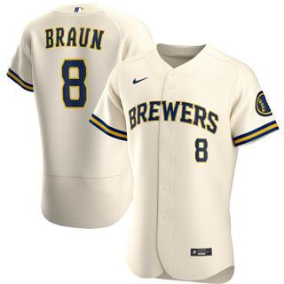 Men's Milwaukee Brewers #8 Ryan Braun 2020 Cream Home Authentic Player Baseball Jersey