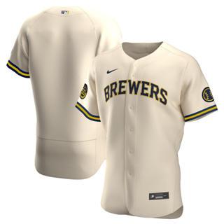 Men's Milwaukee Brewers 2020 Cream Alternate Authentic Team Baseball Jersey