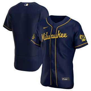 Men's Milwaukee Brewers 2020 Navy Alternate Authentic Team Baseball Jersey
