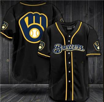 Men's Milwaukee Brewers Black Stitched Baseball Jersey