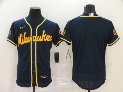 Men's Milwaukee Brewers Blank 2020 Navy Flex Base Stitched Baseball Jersey