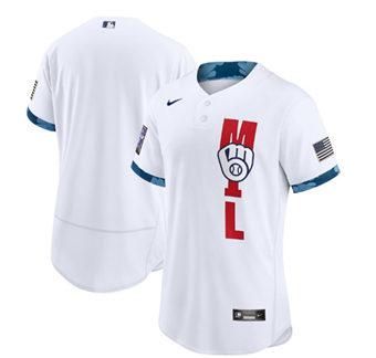 Men's Milwaukee Brewers Blank 2021 White All-Star Flex Base Stitched Baseball Jersey
