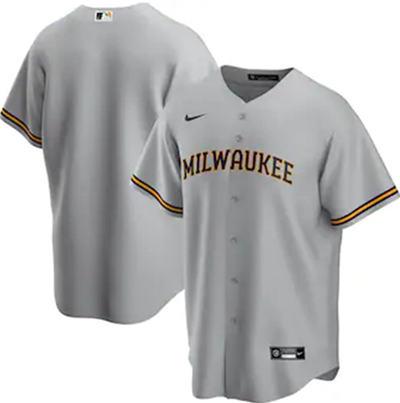Men's Milwaukee Brewers Blank Grey Cool Base Stitched Baseball Jersey