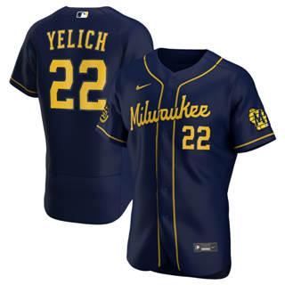Men's Milwaukee Brewers Christian Yelich 2020 Navy Alternate Authentic Player Baseball Jersey