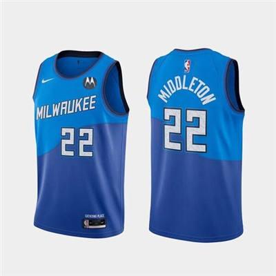 Men's Milwaukee Bucks #22 Khris Middleton Blue Stitched Basketball Jersey