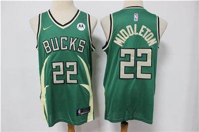 Men's Milwaukee Bucks #22 Khris Middleton Green Stitched Basketball Jersey