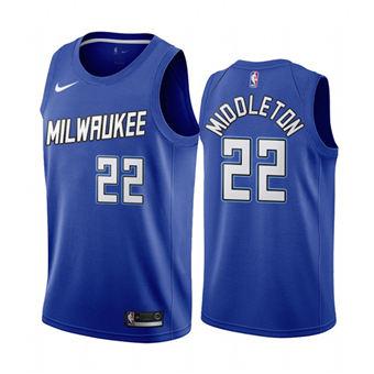 Men's Milwaukee Bucks #22 Khris Middleton Navy City Edition New Uniform 2020-21 Stitched Basketball Jersey