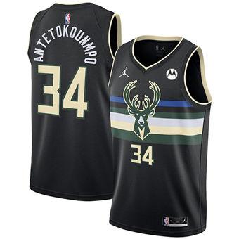 Men's Milwaukee Bucks #34 Giannis Antetokounmpo Black Stitched Basketball Jersey