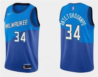 Men's Milwaukee Bucks #34 Giannis Antetokounmpo Blue Stitched Basketball Jersey